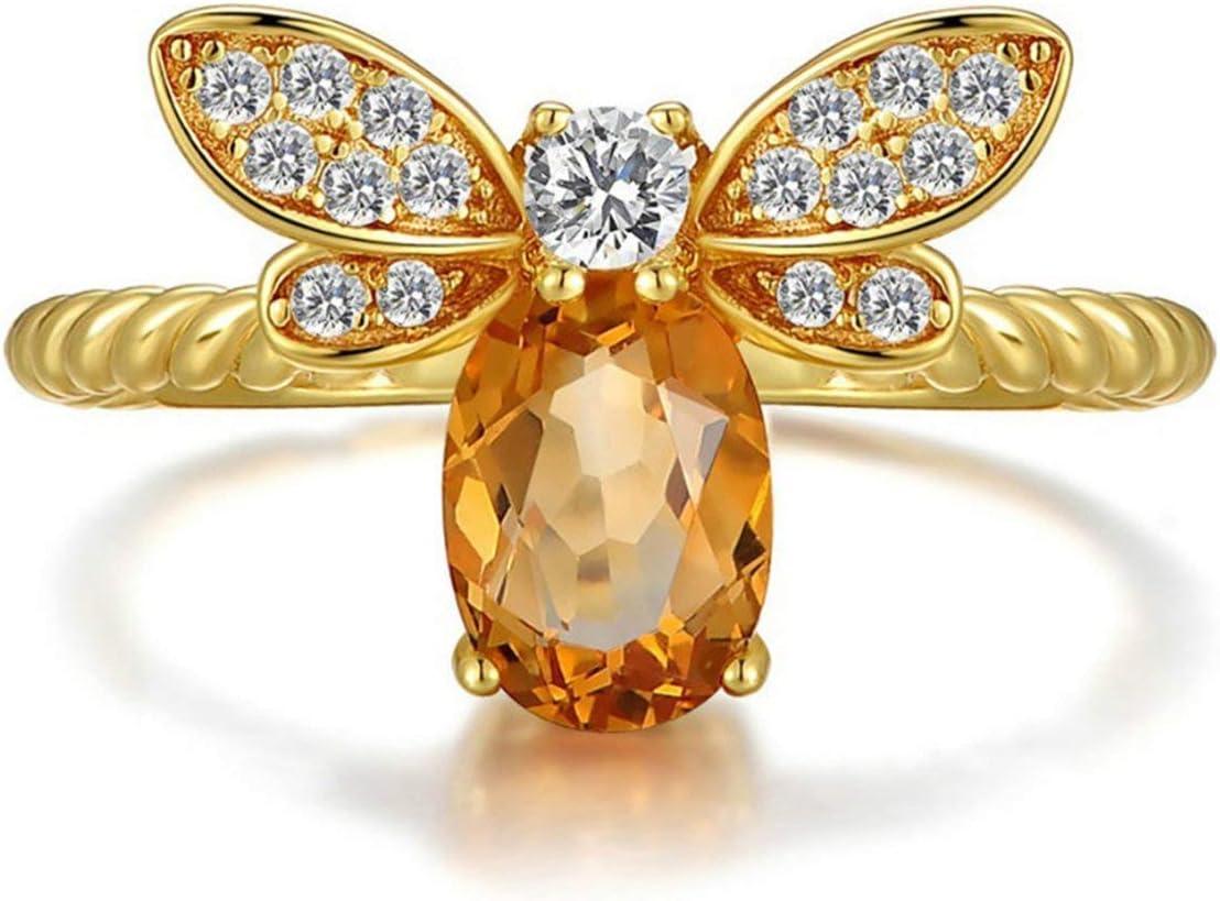 EdBerk74 Joyería Fina Abeja Piedras Preciosas Artificiales Ovalado Cristales Joyas sintonizables Abiertas Anillo de Bodas Chapado en Oro de 14K para Mujeres