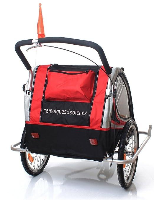 Remolque bicicleta aluminio, ebikeco 7 confort suspensión, rueda 360º ROJO: Amazon.es: Deportes y aire libre
