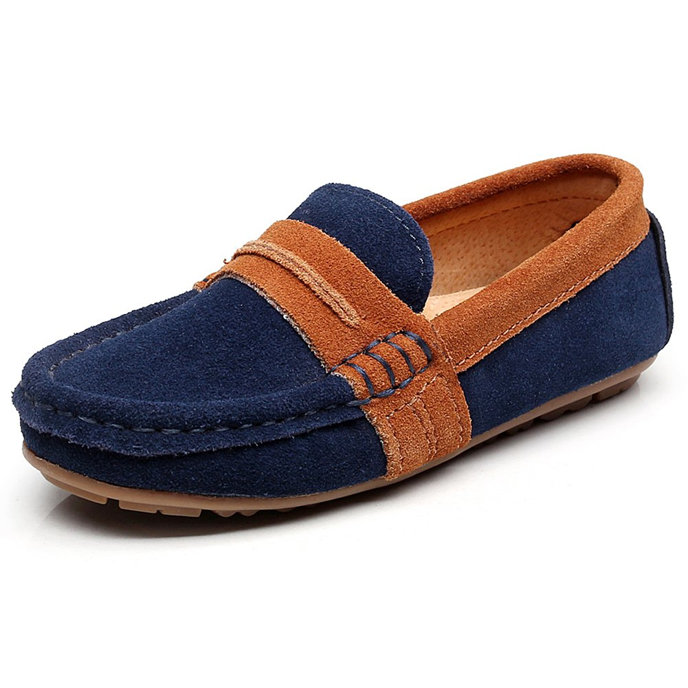 Shenn Boy's Slip-On Mixed Color Dress Suede Leather Loafers Shoes 82215C(Navy Blue,3 M US Little Kid)