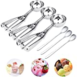 Ice Cream Scoop - 3 PCS 18/8 Stainless Steel Cupcake Muffin Dispenser, Teaspoon Set of 3, Cookie Scoops, Coffee Spoon, Ice Cream Spoon with Trigger for Meat Ballers/Potato Mashers/Melon Ballers/Baking