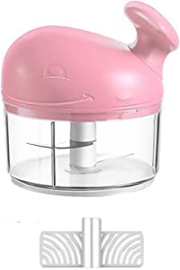 Small Hand Pull Mini Garlic Chopper, Replacement Garlic Press, Portable Easy Food Processors for Spice, Onion Chopper, Garlic Mincer, Garlic Smasher, Meat Masher ,Whisk (Pink)
