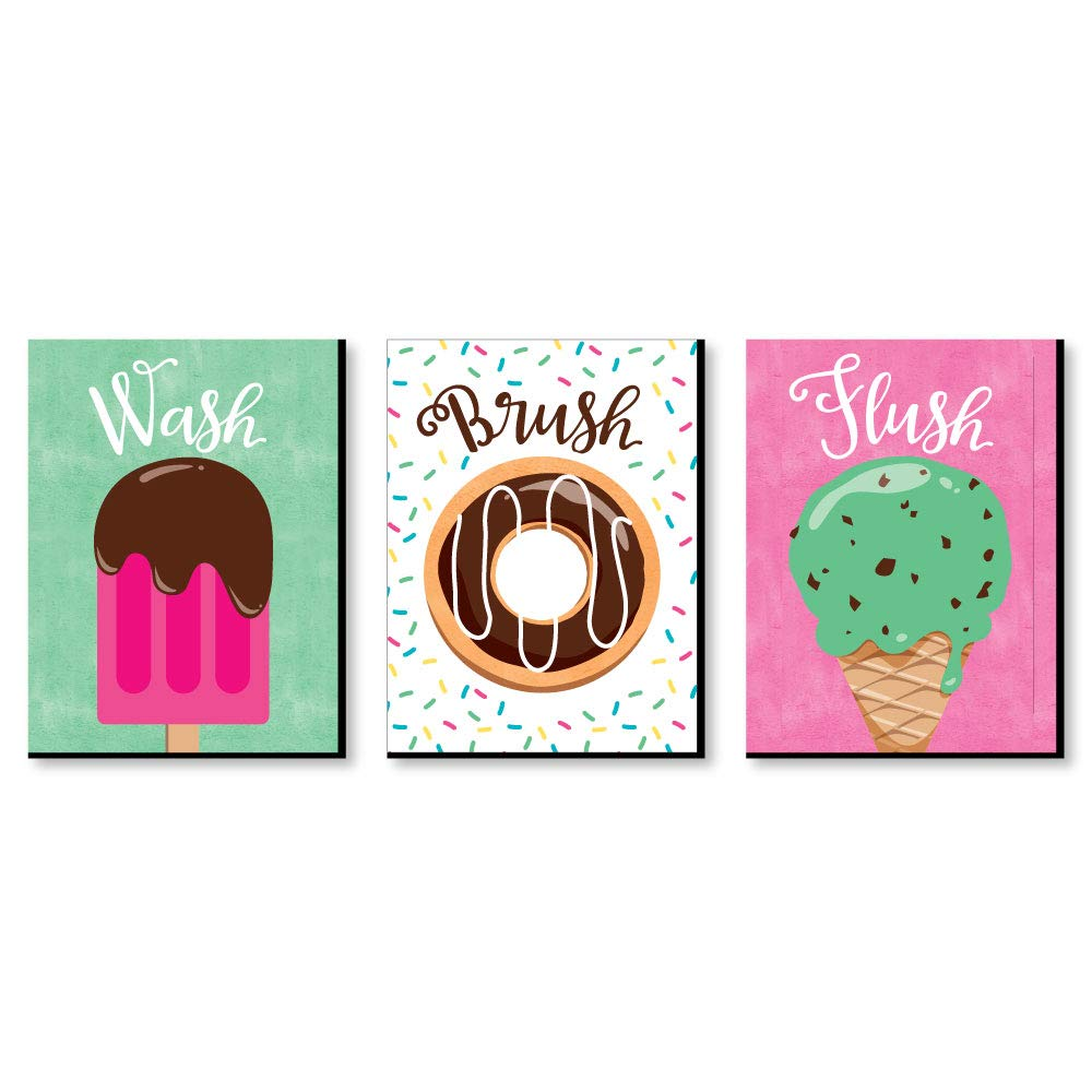 "Sweet Shoppe - Kids Bathroom Rules Wall Art - 7.5"" x 10"" - Set of 3 Signs - Wash, Brush, Flush"