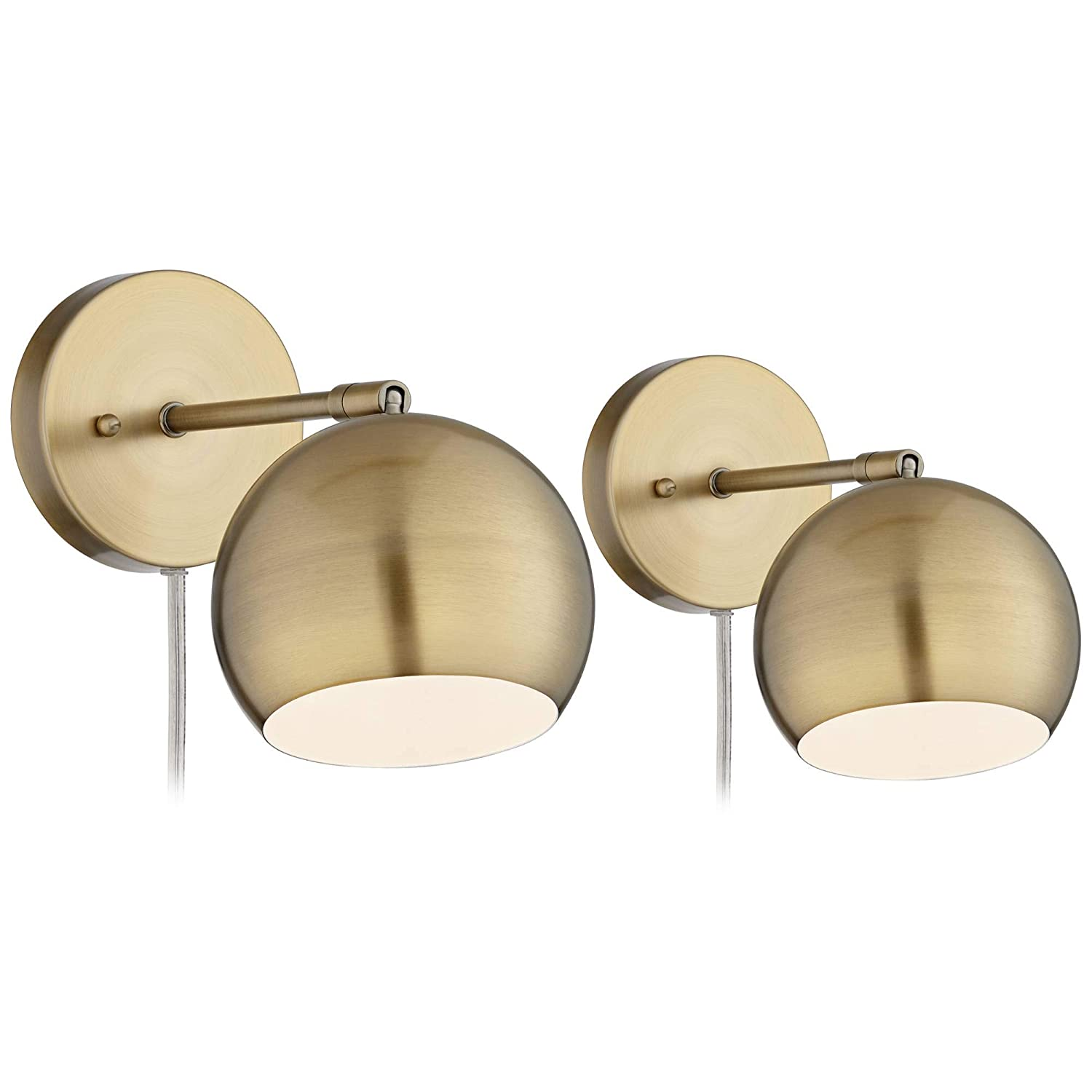 Selena Wall Lights LED Plug in Set of 2 Brass Sphere Shade Pin Up for Bedroom Living Room Reading