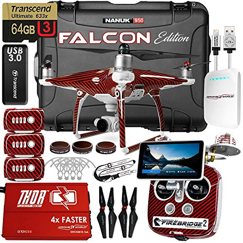 DJI Phantom 4 Pro + Plus Falcon Edition Kit w/ Firebridge Long Range System, Nanuk 950 Wheeled Case, 3 Batteries, Thor Charger, Carbon Fiber Props & Guards, Phantom 4 Pro Lens Filters, 64GB Card by Drone World