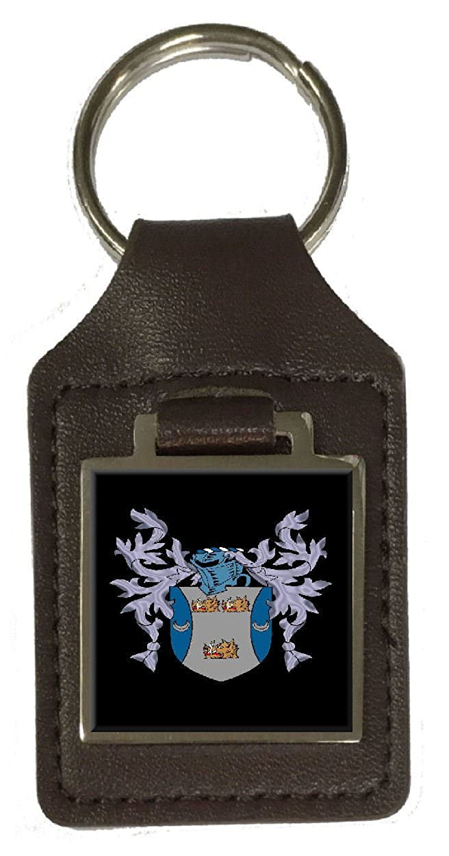 Hogg Heraldry Surname Coat Of Arms Brown Leather Keyring Engraved