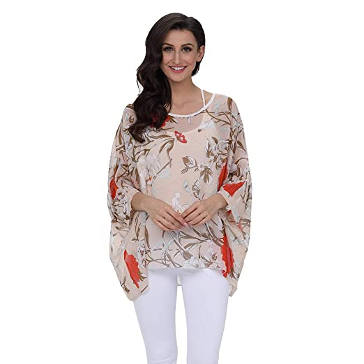 d04ddb0bad Toimothcn Women Chiffon Printed Beachwear Cover Up Sunscreen Shirt  Tops(Beige,Free)