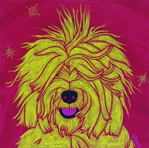Sheep Dog Art - Humorous Dog Pop Art Print - MATTED Print by Angela Bond