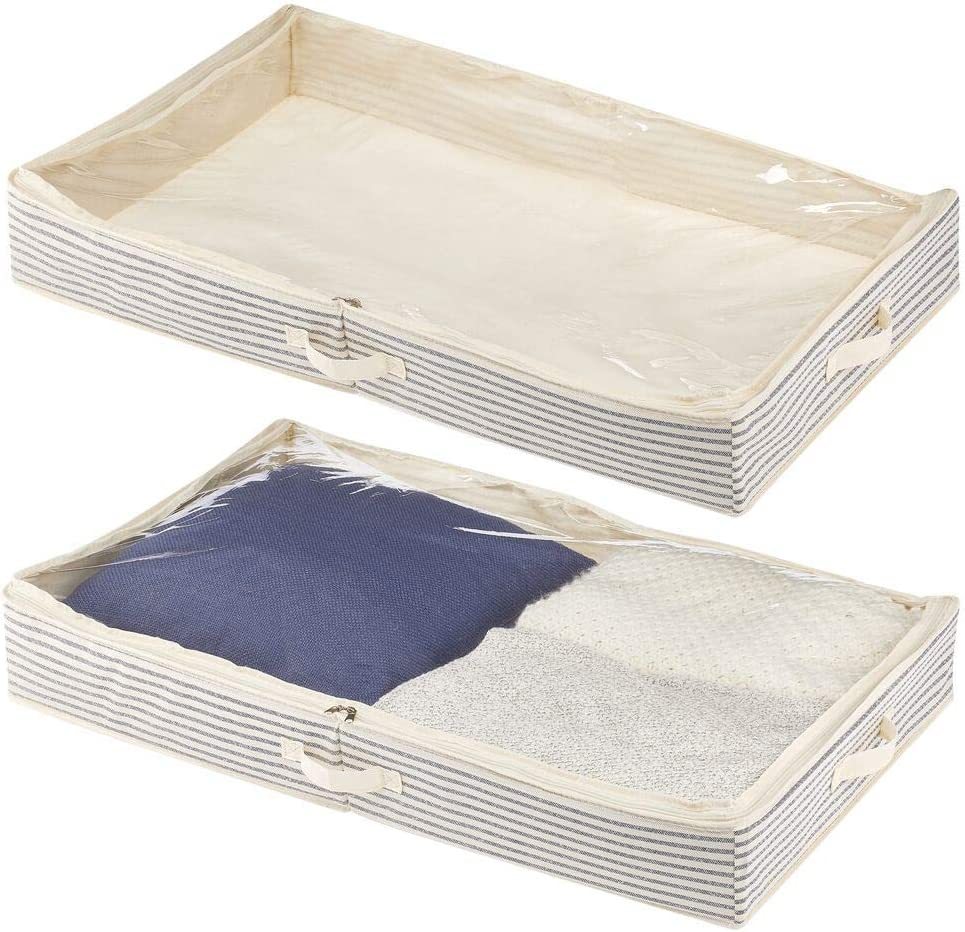 mDesign Soft Fabric Under Bed Storage Organizer Holder Bag for Clothing, Accessories, Linen - Easy-View Top Panel, Attached 2-Way Zippered Lid, Side Handles - 2 Pack - Natural/Cobalt Blue