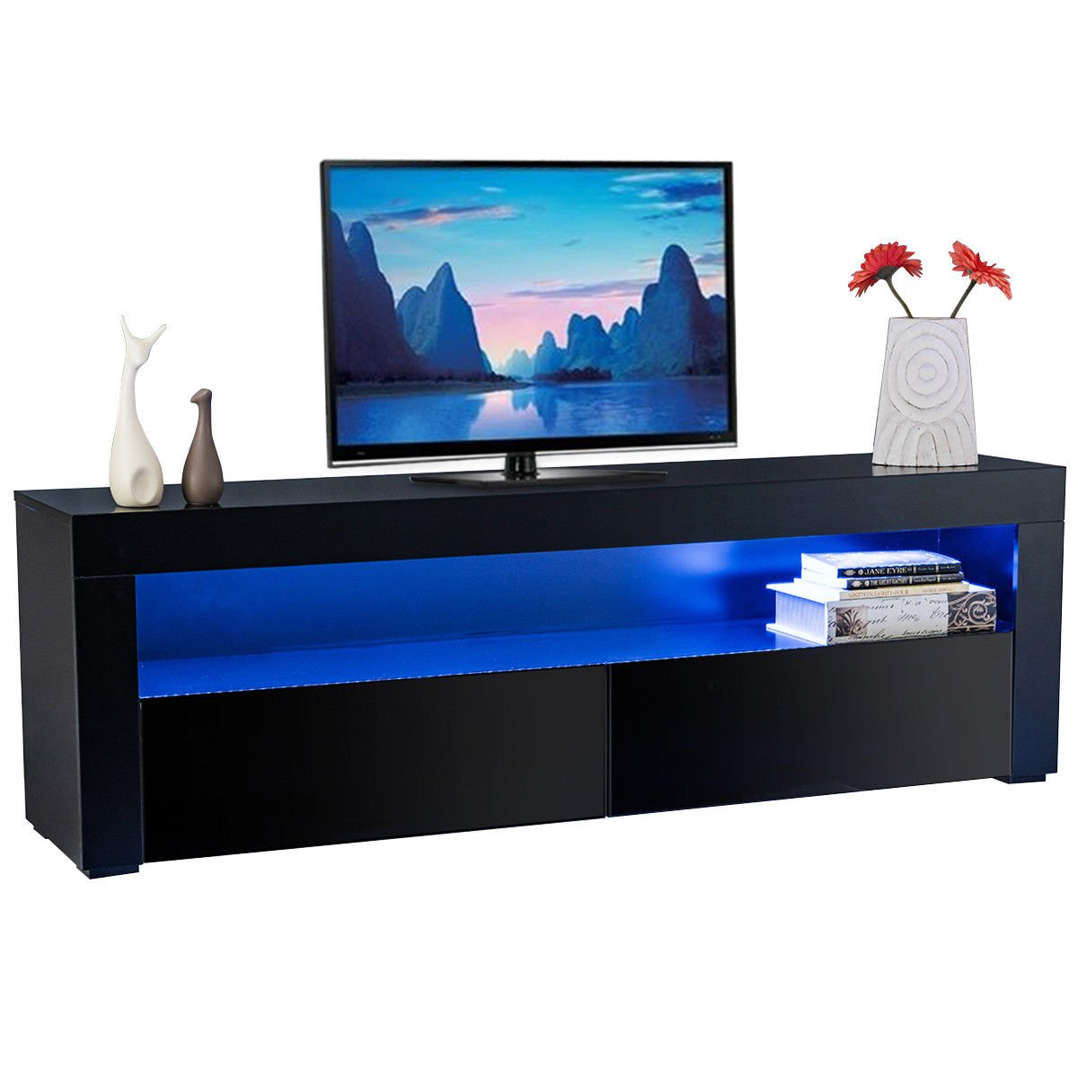 Tangkula Modern TV Stand High Gloss Media Console Cabinet Entertainment Center with LED Shelf and Drawers (Black)