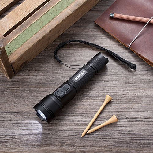 INNOKA LED Tactical Flashlight 900 Lumens [IPX7 Waterproof] Rechargeable Torch with 3 Lighting Modes and CREE LED for Camping Hiking with 18650 Li-Ion Battery, Charging Cable & Lanyard Included