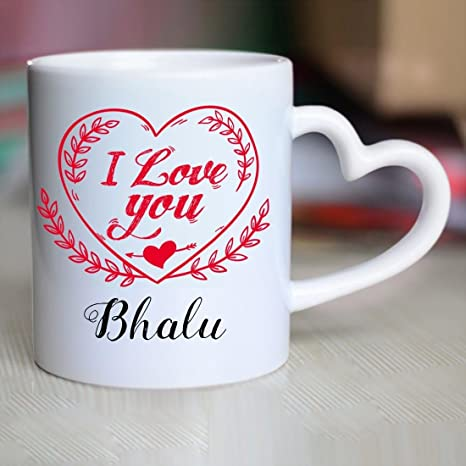 Buy Huppme I Love You Bhalu Heart Handle Mug Online at Low