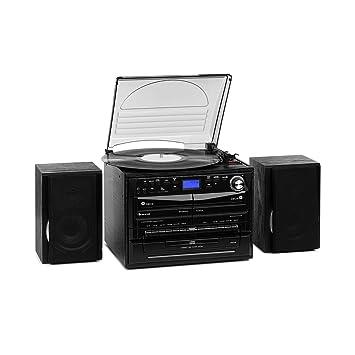 auna 388-DAB+ Equipo estéreo - Reproductor de vinilos , CD , Casetes , Bluetooth , Radio FM y Dab+ , Compatible MP3 , Display LCD , Conexiones USB SD, ...