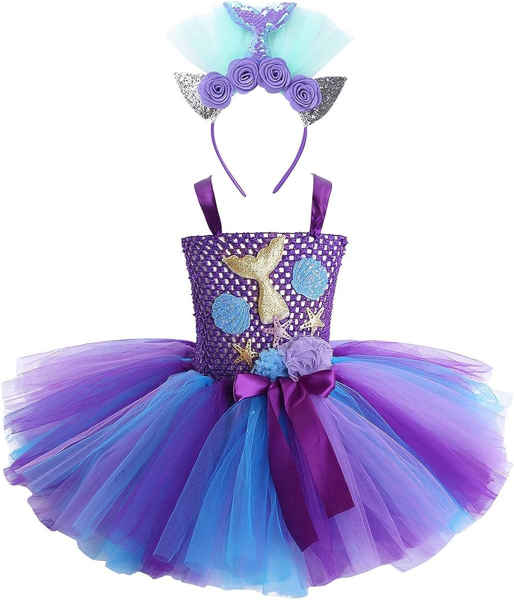 Jurebecia Mermaid Tutu Dress Girls Halloween Birthday Party Role Play Costume Princess Mermaid Dress Up Clothes with Headband