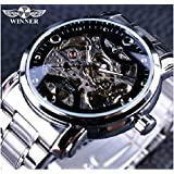 T-WINNER Fashionable Designer Casual Stainless Steel Blue Ocean Skeleton Automatic Watches For Men (Black Silver_Analog))