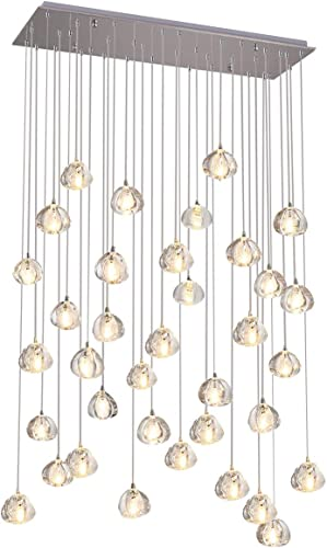 Crystal Chandelier LED Modern Pendant Light Raindrop Ceiling Light Crystal Ball Lighting Fixture 36 Light