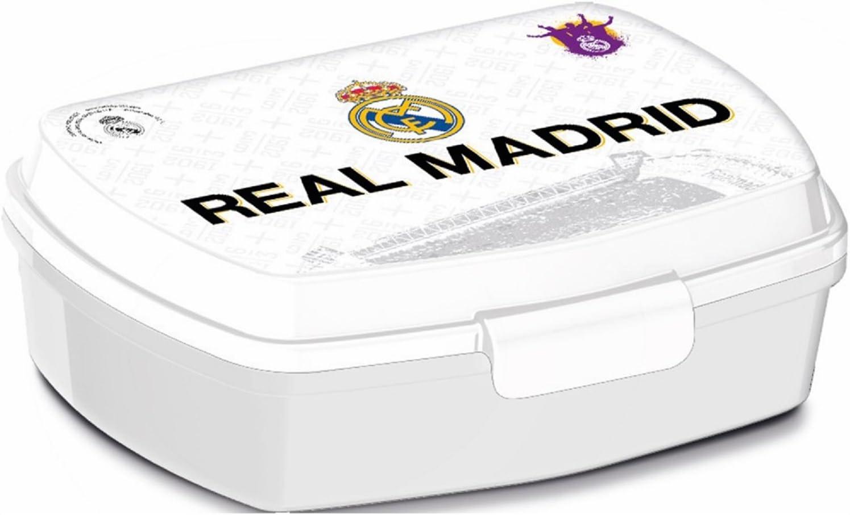 ALMACENESADAN, 0435, Sandwichera Rectangular Multicolor Real Madrid CF, 15x10x5,5 cms