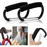 "2pcs Strong Large Durable Buggy Carabiner Stroller Hooks Mummy Clip Pram Pushchair Grocery or Diaper Bags Holder - 14cm (5.5"")"