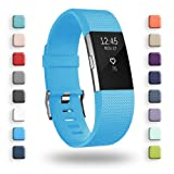 POY Replacement Bands Compatible for Fitbit Charge 2, Classic & Special Edition Sport Wristbands, Small Cerulean 1PC