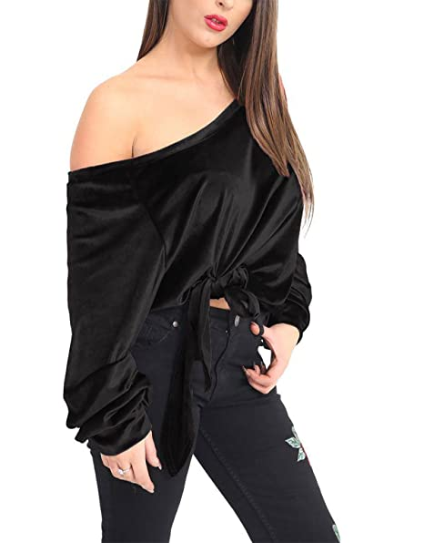 Islander Fashions Womens Off Shoulder Terciopelo Blusa T-Shirt Seoras Tie Up Loose Baggy Top T-Shirt S/3XL: Amazon.es: Ropa y accesorios