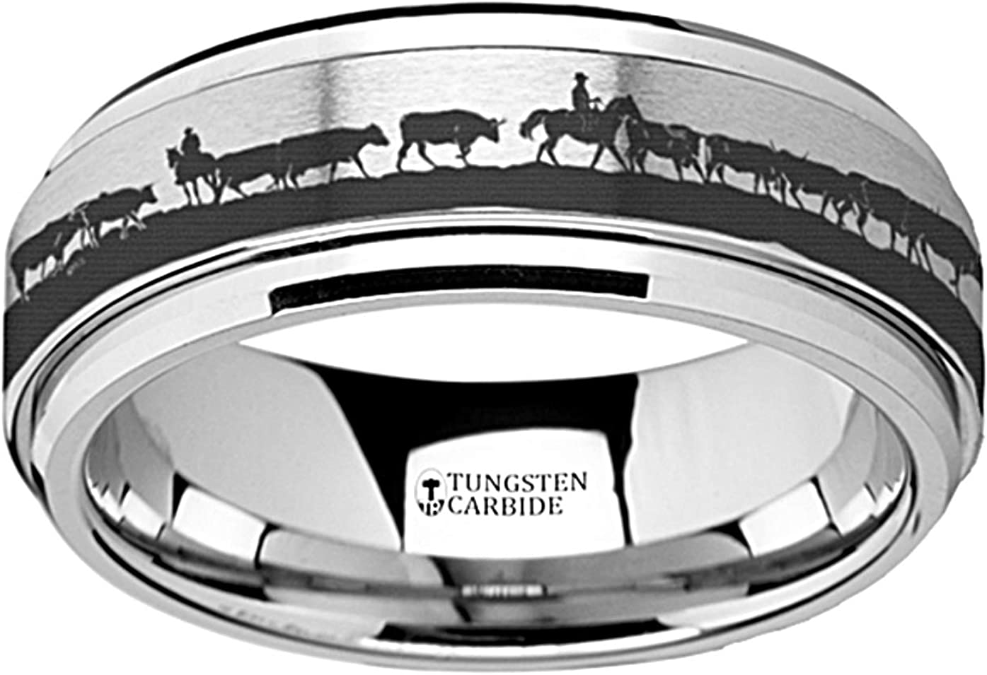 Spinning Ring Western Ranch Herding Cattle Cows Steers Tungsten Carbide Spinner 8mm Wide Wedding Band