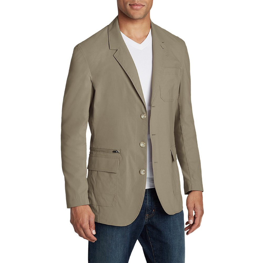 Eddie Bauer Men's Voyager 2.0 Travel Blazer, Lt Khaki Regular 44