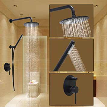 Luxury Oil Rubbed Bronze Black Bath Shower Faucet Set 8u0026quot; Rain Shower  Head + Hand