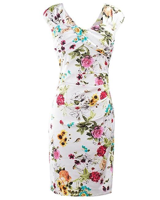 ZhuiKun Vestido Vintage de Los Años 50 Vestido de Cóctel con Estampado de Flores para Mujer