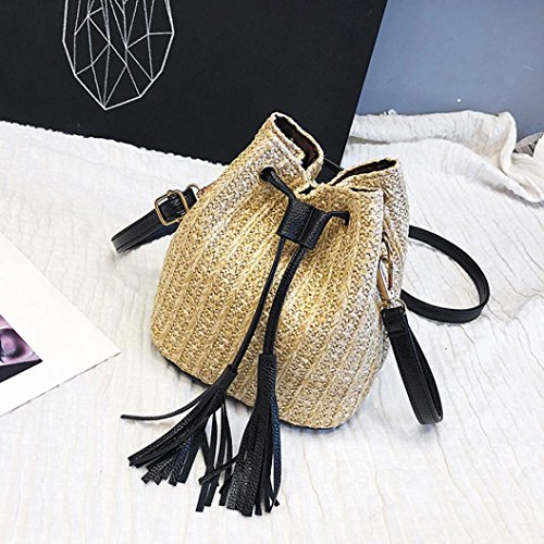 Bag Straw Handbag Women's Woven Bags Casual Shybuy Khaki Buckets Shoulder Tassel Crossbody Rqwfn6Sv