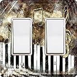 Rikki Knight 3758 Double Rocker Antique Music Notes Design Light Switch Plate