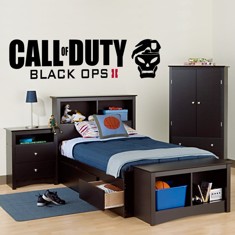 Call of Duty Black Ops 2 - Wall Decal Art Sticker boy's bedroom playroom hall (Color: Black Size: Medium) by Wondrous Wall Art