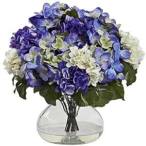 SKB Family Hydrangea W/Large Vase Smooth Blue Purple Winners Flowers