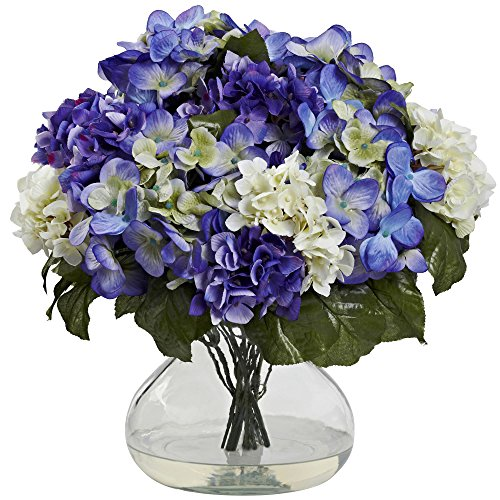 Nearly Natural 1387-BP Hydrangea with Vase, Large, Blue Purple