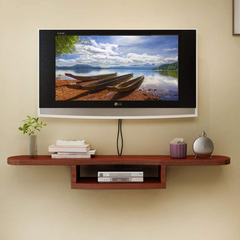 Ynn Set Top Box Frame Wall Mounted Tv Cabinet Wall Partition Wall Decoration Frame Living Room Flower Shelf Display Rack Color Teak Size 120cm Amazon Co Uk Kitchen Home