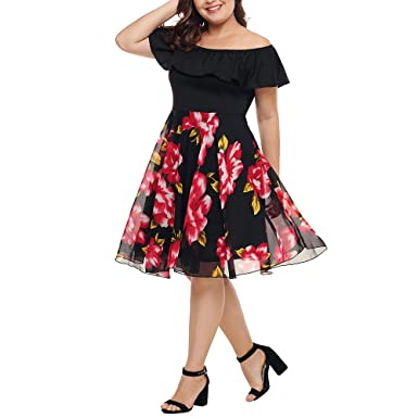 a587d87480c Large Size Ladies Dress Chiffon Printed Strapless Bohemian Swing Dress high  Waist Short Party Mini Dress