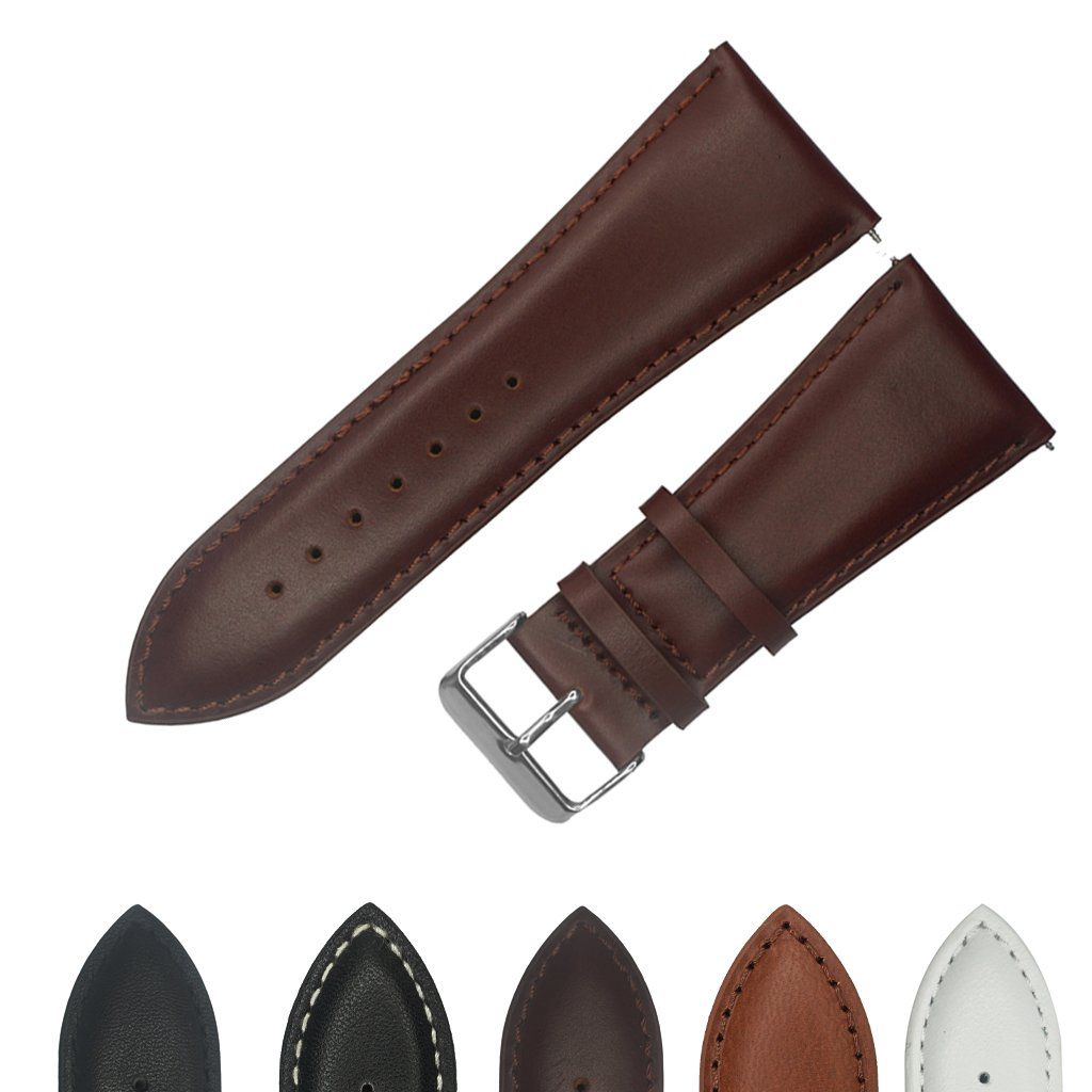 IVAPPON 32mm Leather Watch Band, YQI Men's Solid Color Genuine Leather Watch Strap (deep Brown)