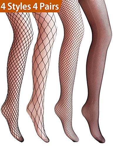 ishnet Stockings for Women Net Tights Lace Stockings (BLACK) ()