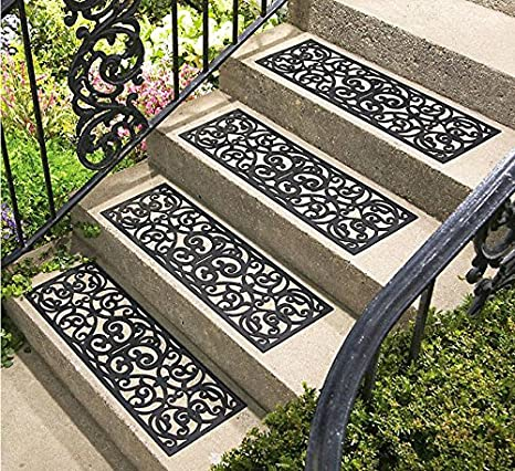 Set Of 4 Rubber Stair Tread Traction Control Outdoor Mat (Scrollwork)