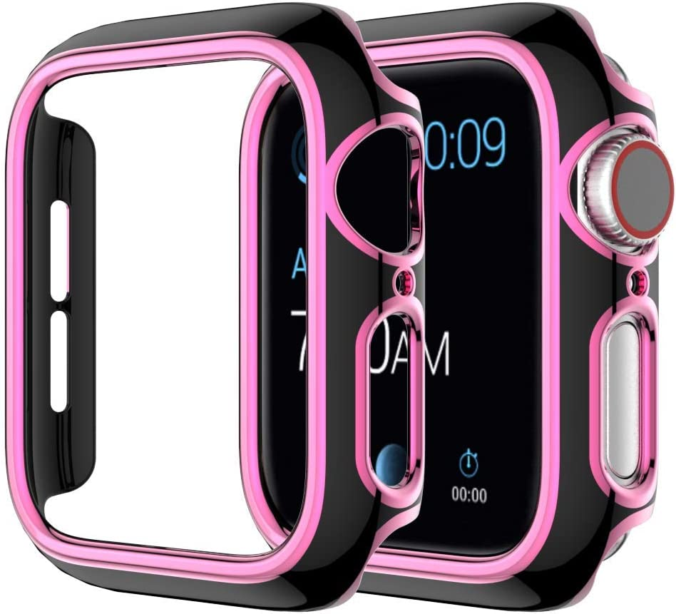 Hontao Hard PC Case (Without Screen) Thin Protective Cover Compatible Apple Watch iWatch Series 3 2 1 (Black-Pink 42mm)