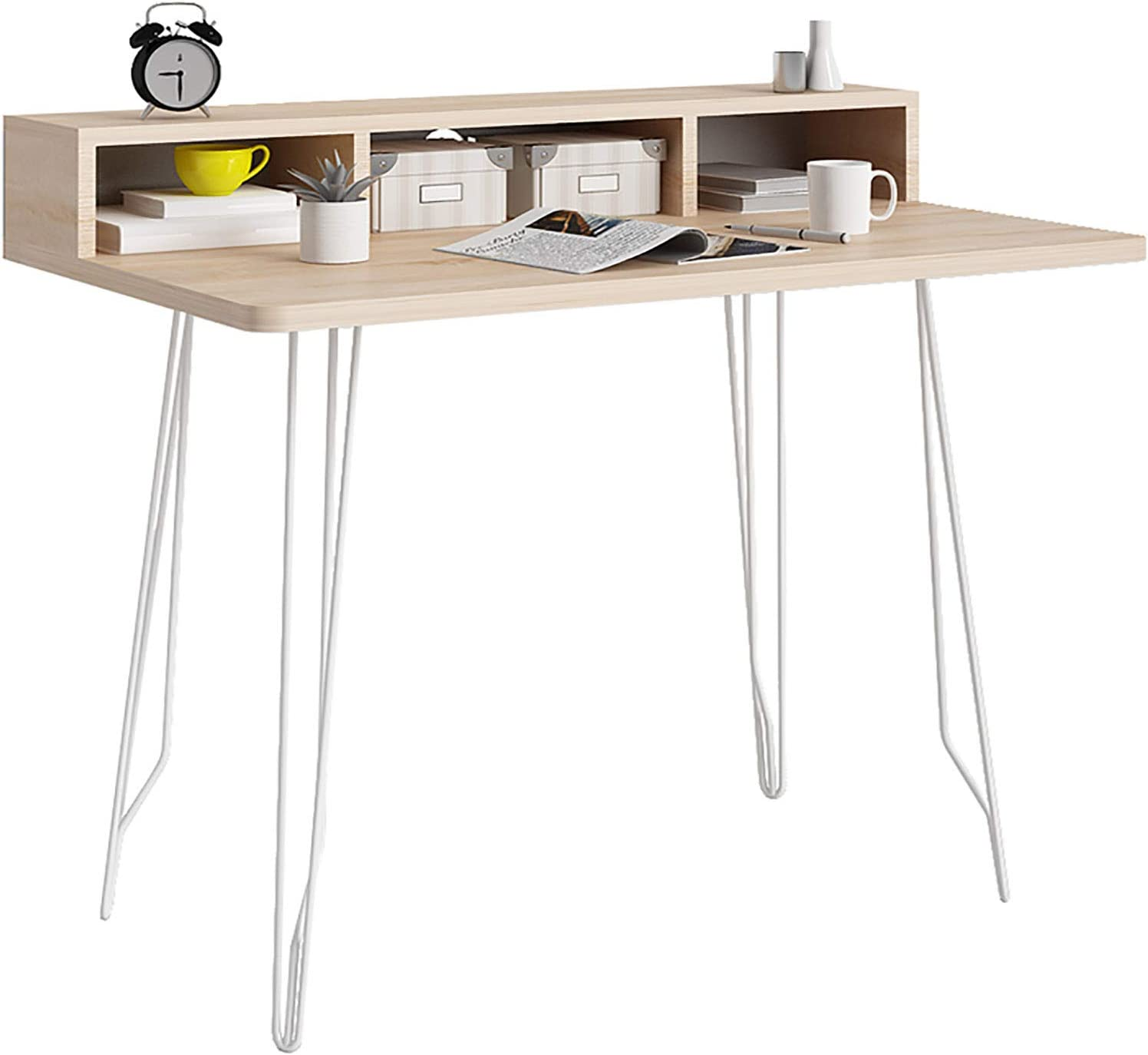 """Wood and Metal Frame Writing Desk for Home Office,Ergonomic Easy Assemble Office Table,Small Computer Desk 39"""",Modern Style PC Table with 3 Storage Drawers"""