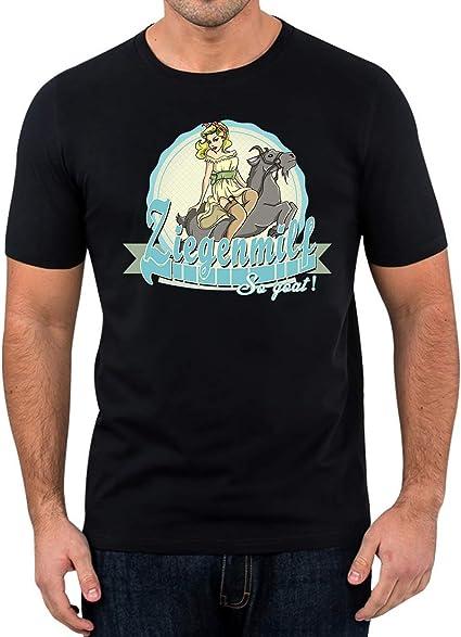 Elbster Camiseta de la leche de cabra - camisa de la diversión del milf divertidos 50s camiseta pinup 60s 70s diseño retro para hombres: Amazon.es: Ropa y accesorios