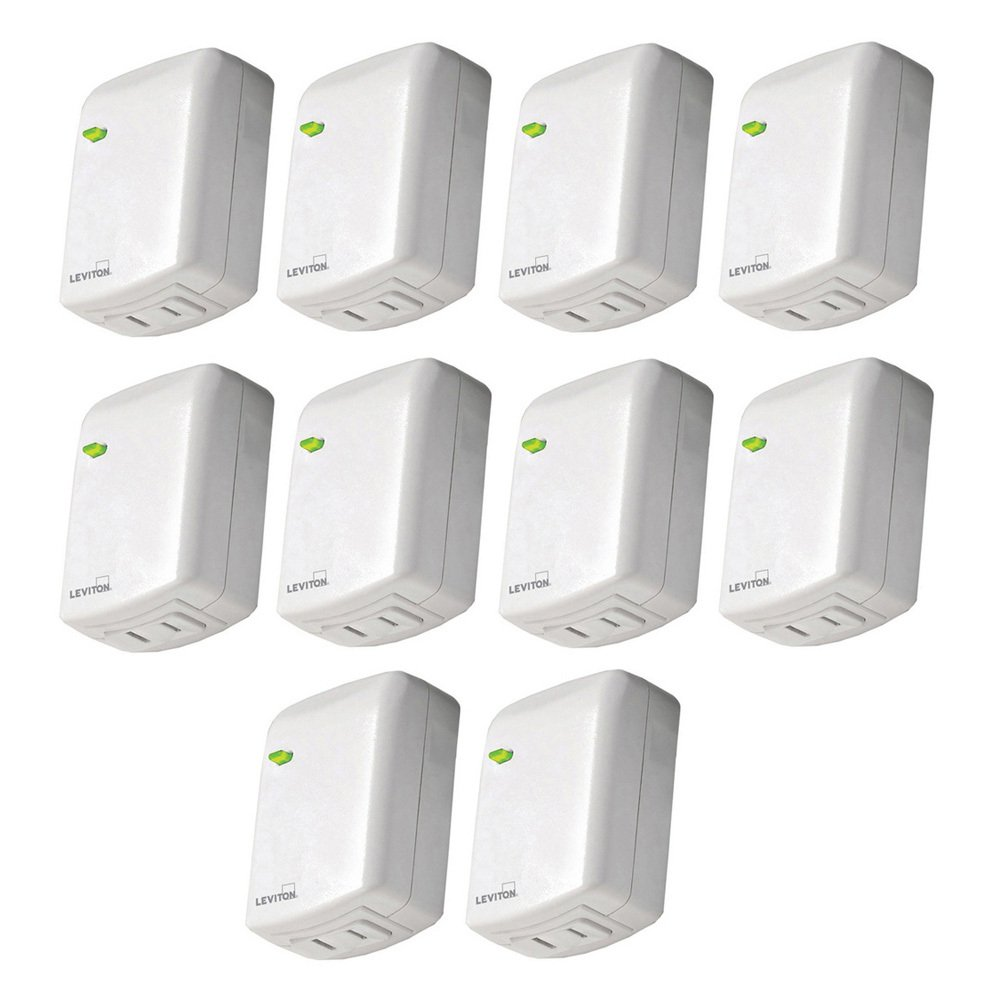 Leviton DZPD3-2BW Decora Smart Plug-In Dimmer with Z-Wave Technology, 10-Pack, White