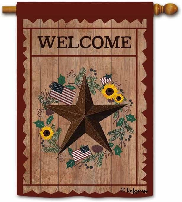 KafePross Welcome Barnstar Primitive House Flag Sunflowers Wreath Decor Patriotic Banner for Outside 28 x 40 Inch Print Double Sided