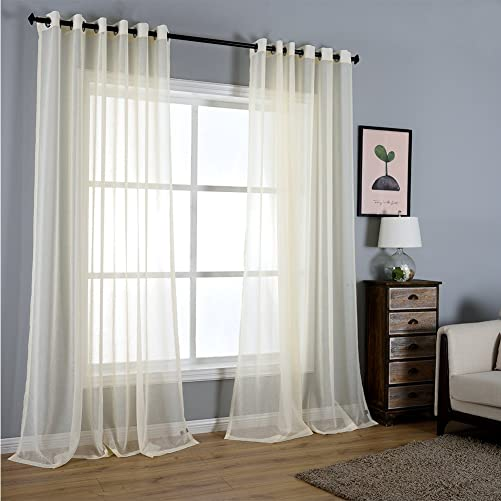 Dreaming Casa Solid Sheer Curtains Living Room Beige Grommet Top Voile Draperies Window Treatment 100 W x 102 L 2 Panels