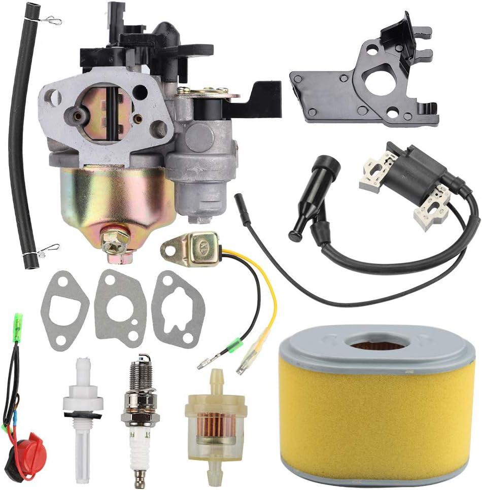 Coolwind GX200 Carburetor + Air/Fuel Filter Spark Plug Ignition Coil for Honda GX160 5.5HP GX200 6.5 HP GX140 GX168 Engine 16100-ZH8-W61
