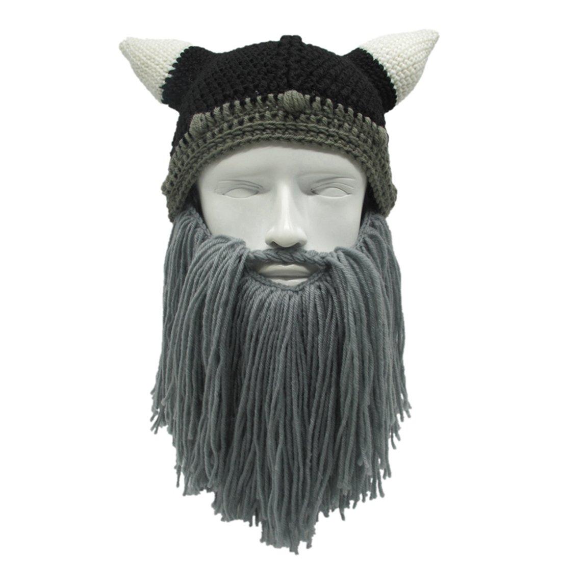 4de4dd7e8 ZGZY Beard Hat Beanie Knit Original Barbarian Warrior Halloween with Viking  Horns Bearded Caps Windproof for Men & Women Tentacle Crochet Pillager ...