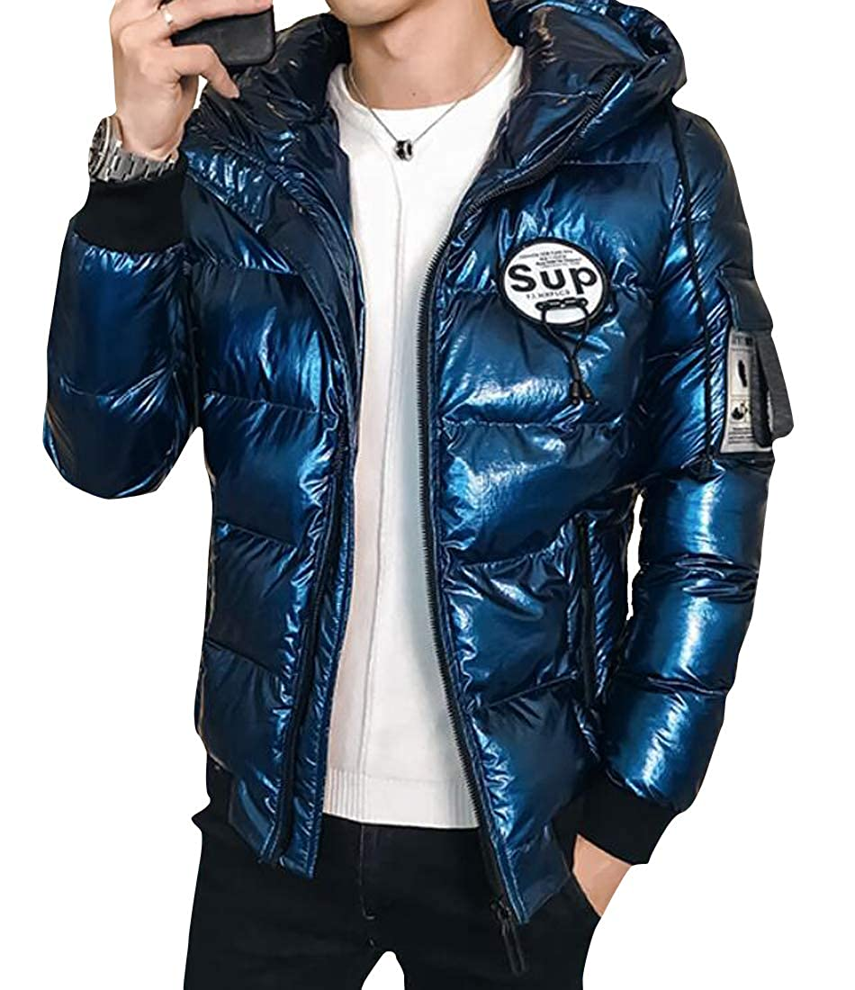 Fubotevic Men Zipper Thicken Winter Regular Fit Hoodie Down Quilted Coat Jacket Overcoat
