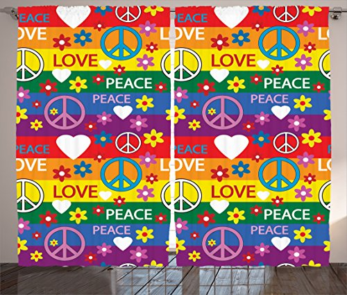 Ambesonne Groovy Decorations Curtains, Heart Peace Symbol Flower Power Political Hippie Cheerful Colors Festival Joyful, Living Room Bedroom Decor, 2 Panel Set, 108 W X 84 L Inches For Sale