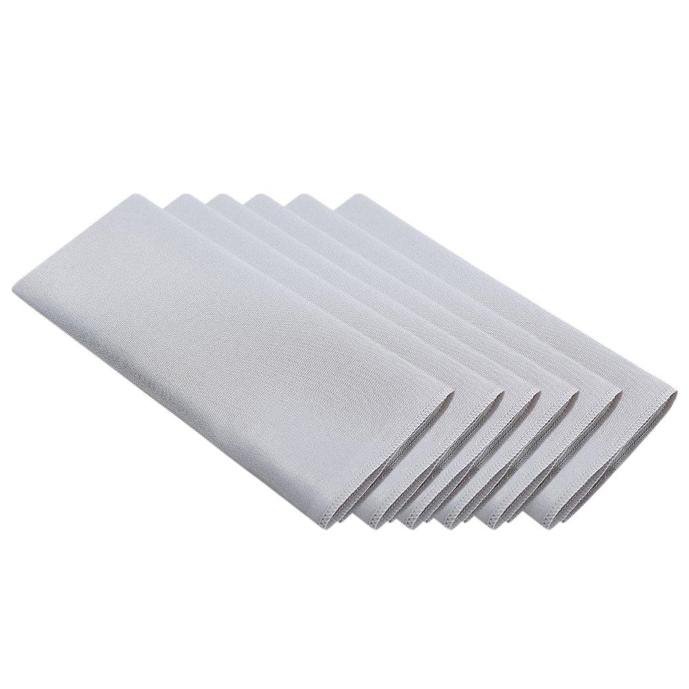 Surmente 20-Inch Polyester Cloth Napkins for Weddings, Banquets, or Restaurants (1-Dozen) (Silver)