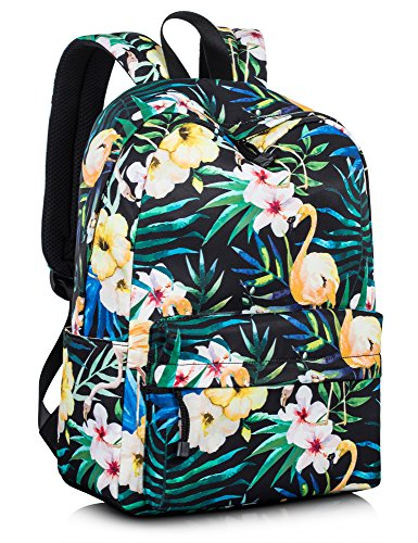 Leaper Vintage Backpack Bookbag Travel Bag 14Inch Laptop Bag Green Leaves-1