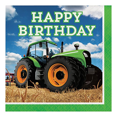 Creative Converting 318052 Tractor Time Paper Lunch Luncheon Napkins, 6.5
